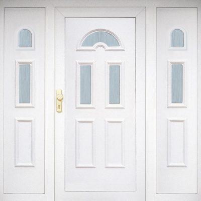 AblakPalota_Szabvány bejárati ajtó fehér közepén üveges mindkét oldalán tok kiegészítővel